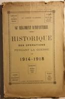 Historique Des Opérations Du 86° Regiment D'infanterie - Catalogues