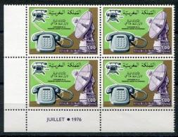 RC 14356 MAROC N° 775 1ere LIAISON TÉLÉPHONIQUE BLOC DE 4 COIN DATÉ NEUF ** - Marokko (1956-...)