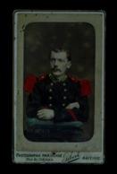 Photo Carte De Visite Cdv Albumine Albumen Photographie Portrait Militaire 130ème Régiment Gilbert Mayenne Colorisée - War, Military