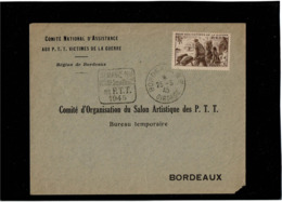 LCTN58/2 - FRANCE SEMAINE NATIONALE VICTIMES DE LA GUERRE DES P.T.T. BORDEAUX 25/5/1945 - Expositions Philatéliques