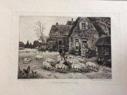 Oude Gravure / Entréé Triomphale Au Village / Léonce Petite, Pinx Et Sculp - Gravures