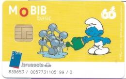 CARTE A PUCE TRANSPORT MOBIB BASIC MVB STB BRUSSELS B-D BANDE DESSINÉE ILLUSTRATEUR PEYO SCHTROUMPF ATONIUM - Altri