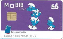 CARTE A PUCE TRANSPORT MOBIB BASIC MVB STB BRUSSELS B-D BANDE DESSINÉE ILLUSTRATEUR PEYO SCHTROUMPF ACROBATES - Transportation Tickets