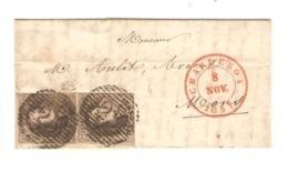 REF13/ TP 6A (paire) Belles Marges S/LAC C.Charleroi 8/11/51 P 25 > Mons - Oblitérations à Barres: Perceptions