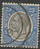 Tanganyika 1927, GVR 25 Cents Black & Blue, Used - Kenya, Uganda & Tanganyika