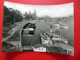 Dresden  - Schiffsanlegestelle - Schaufelrad Dampfer - Elbe - Echtfoto - DDR 1963 - Schiffe - Sachsen - Paquebots