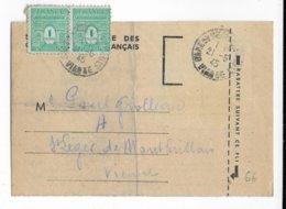 1945 - ARC DE TRIOMPHE - PAIRE Sur RECU SNCF De COLIS POSTAUX De GARE De CHATELLERAULT (VIENNE) - 1944-45 Arc De Triomphe