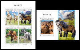 MOZAMBIQUE 2018 - Horses, M/S + S/S. Official Issue - Caballos