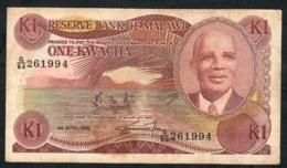 MALAWI P19b  1 KWACHA 1.4.1988 #G/64  FINE    NO P.h. - Malawi