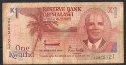 MALAWI P23a  1 KWACHA 1990  #AD  FINE    NO P.h. - Malawi