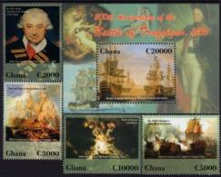 Ghana - 2006 - 200th Anniversary Of Trafalgar Battle - Mint Stamp Set + Souvenir Sheet - Ghana (1957-...)