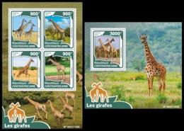 CENTRAL AFRICA 2016 - Giraffes - YT CV=40 €, 4220-3 + BF927 - Giraffes
