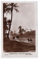 Maroc -- MARRAKECH--1937-- L'aurore Dans La Palmeraie  ( Animée , ânes,chameaux)-timbre-cachet Daguin - Marrakesh