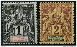 Anjouan (1892) N 1 à 2 * (charniere) - Ongebruikt