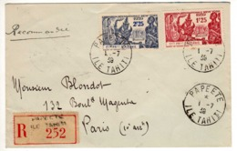 Lettre :  Eta. Franç. D'Océanie  : Exp. Inter. De New-York: Recommandée : Papeete - 1939 Exposition Internationale De New-York
