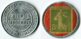 N93-0603 - Timbre-monnaie Galeries Modernes 5 Centimes - Kapselgeld - Encased Postage - Monétaires / De Nécessité