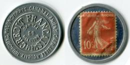 N93-0604 - Timbre-monnaie Crédit Français 10 Centimes - Kapselgeld - Encased Postage - Monétaires / De Nécessité