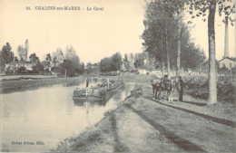 51 MARNE Chevaux Au Chemin De Hallage Et Péniche Sur Le  Canal à CHALONS Sur MARNE - Châlons-sur-Marne