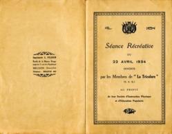 """""""La Tricolore Meudon"""" Séance Récréative Du 10 22 1934, """"la Statue Du Colonel """" De Boucherat Et ... - Programmes"""