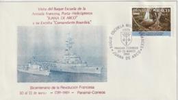 Panama 1989 Cachet De L'escale Du Porte Hélicoptères Jeanne D'Arc - Panama