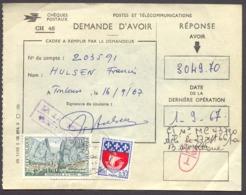 1066) France N°1354B Et 1436 Sur Demande D'Avoir Des Chèques Postaux - 1967. (Formule CH46) - Postdokumente