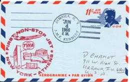 USA Aerogramme First TWA Non Stop Jet  Flight New York - Athens 4-6-1966 - Enveloppes évenementielles