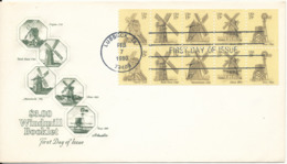 USA FDC 7-2-1980 Windmills Booklet Pane Of 10 Stamps With Artmaster Cachet - Premiers Jours (FDC)