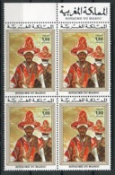 RC 14422 MAROC N° 725 PEINTURE MAROCAINE TABLEAU T. LAHLOU BLOC DE 4 NEUF ** - Morocco (1956-...)