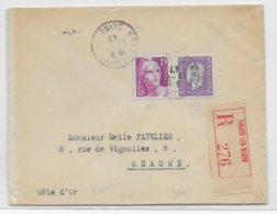 1947 - TARIF ! - GANDON + DULAC Sur ENVELOPPE RECOMMANDEE De NOGENT SUR MARNE => BEAUNE - 1921-1960: Modern Period