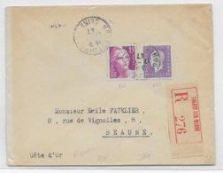 1947 - TARIF ! - GANDON + DULAC Sur ENVELOPPE RECOMMANDEE De NOGENT SUR MARNE => BEAUNE - 1921-1960: Periodo Moderno