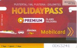 Italien Pustertal / Südtirol Holidaypass Premium Mobilcard Eisenbahn Bus - Bahn
