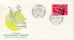 DRINKS, BEER, EUROPEAN BREWERY CONVENTION, BRUXELLES, SPECIAL COVER, 1963, BELGIUM - Biere