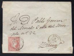 ESPANA - BORJA - ZARAGOZA / 1858 ISABEL II SUR ENVELOPPE TIMBREE (ref 6064b) - Storia Postale