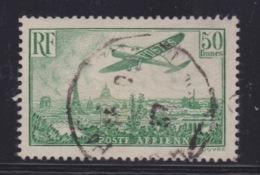 FRANCE - POSTE AERIENNE. N°14. 50 Frs VERT. Oblitéré . Cote : 420€. Signé. - 1927-1959 Matasellados