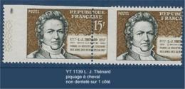 """FR Variétés YT 1139 """" L. J. Thénard """" Piquage à Cheval Dentelé 3 Côtés - Variétés: 1950-59 Neufs"""