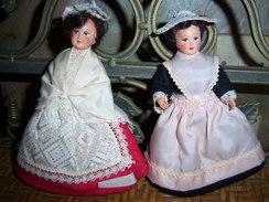 Lot De 2 POUPEES REGION BRETAGNE FOLKLORIQUE PLOUGUERNEAU LORIENT LE MINOR ? - Dolls