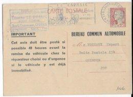 1967 - CARTE ENTIER  BUREAU COMMUN AUTOMOBILE TYPE DECARIS De CARHAIX (FINISTERE) - Entiers Postaux