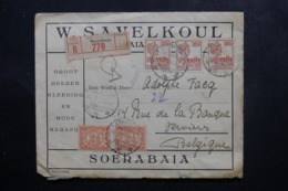 INDES NÉERLANDAISES - Enveloppe Commerciale En Recommandé De Soerabaja Pour La Belgique En 1924 - L 46121 - Nederlands-Indië