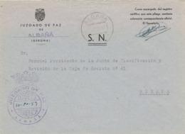 34517. Carta S.N. Franquicia Juzgado De Paz ALBAÑÁ (Gerona) 1959. Fechador Albañá - 1931-Hoy: 2ª República - ... Juan Carlos I