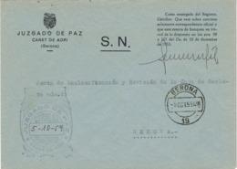 34518. Carta S.N. Franquicia Juzgado De Paz CANET De ADRI (Gerona) 1959. Fechador Gerona - 1931-Hoy: 2ª República - ... Juan Carlos I