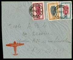 """CONGO BELGE """"COQUILHATVILLE F  23/6/48"""" Sur N° 284 + 286 + 291. Sur Enveloppe Par Avion Pour La France. - Belgian Congo"""