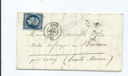 N° YT 14A Type I Sur Lettre De Caen Pour Buisson Par Vassy Sur Blaise Hte Marne 1856 - Storia Postale