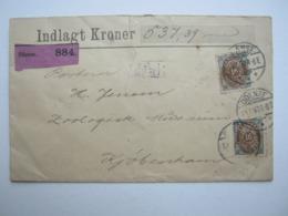 1897 , Wertbrief Mit 2 Mal 16 Öre, Riss Im Brief  Von Oben( Nur Vorderseite Des Briefes Betroffen) - 1864-04 (Christian IX)