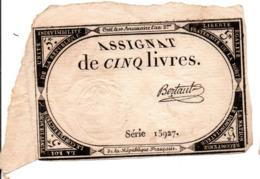 FRANCE -- Assignat De CINQ Livres -- Créé Le 10 Brumaire L'an 2me.-- Série 15927 - Assignats