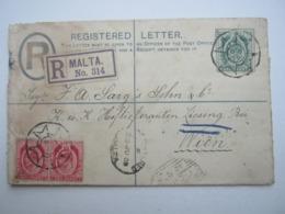 MALTA , Einschreiben Nach Wien, 1909 - Malta