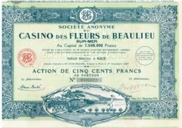 Action Ancienne - Société Anonyme Du Casino Des Fleurs De Beaulieu-sur-Mer -Titre De 1928 - Déco - - Casino