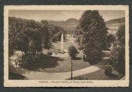 TORINO - GIARDINI PUBBLICI DI PIAZZA CARLO FELICE - VIAGGIATA CON AFFRANCATURA1931   - ANGOLI ROVINATI - 073 - Parcs & Jardins