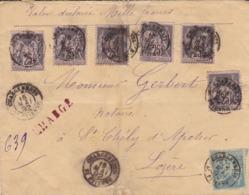 LOIRE- Cachet 15 CHARGEMENTS ST. ETIENNE Lettre Chargée Au Type Sage - Postmark Collection (Covers)