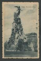 TORINO - MONUMENTO AL FREJUS - VIAGGIATA CON AFFRANCATURA 1917 - ANGOLI ROVINATI - 080 - Places