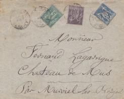 HÉRAULT- Cachet A De MONTPELLIER Sur Lettre Avec Affranchissement Tricolore Au Type Sage - Poststempel (Briefe)